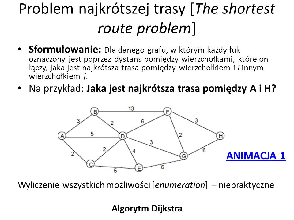 Problem najkrótszej trasy [The shortest route problem]